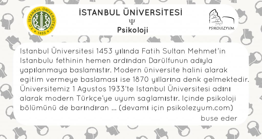 Istanbul Universitesi Psikoloji Bolumu Psikolezyum